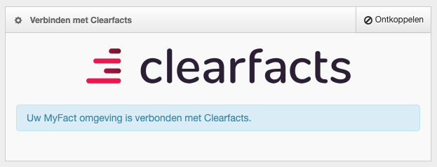 Screenshot: Clearfacts verbonden
